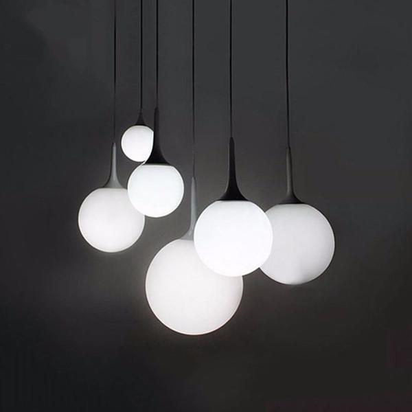 Loft simple milk white glass ball pendant light LED E27 modern hanging lamp with 6 size for living room bedroom lobby hotel shop