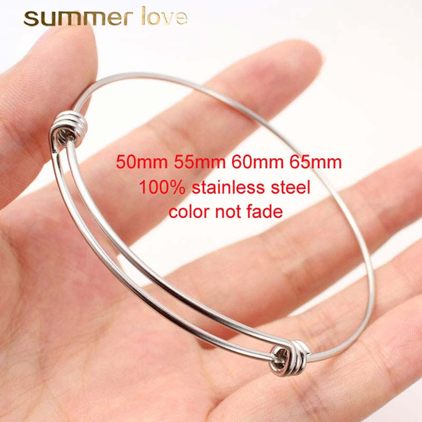 High quality stainless steel silver plating bracelet bangle 50-65MM adjustable size wire bangle for diy jewelry making