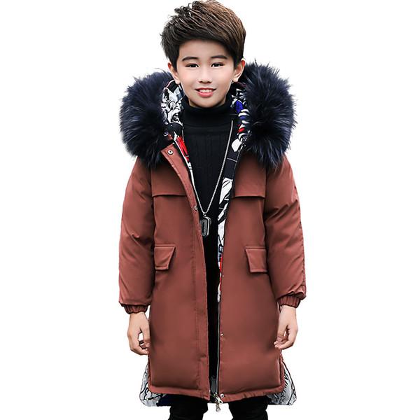 Erkek Aşağı Ceket Yeni Beyaz Ördek Aşağı Moda Karikatür Baskılı Çocuklar Hem Yan Ceket Çocuk Kapüşonlu Parkas Giymek