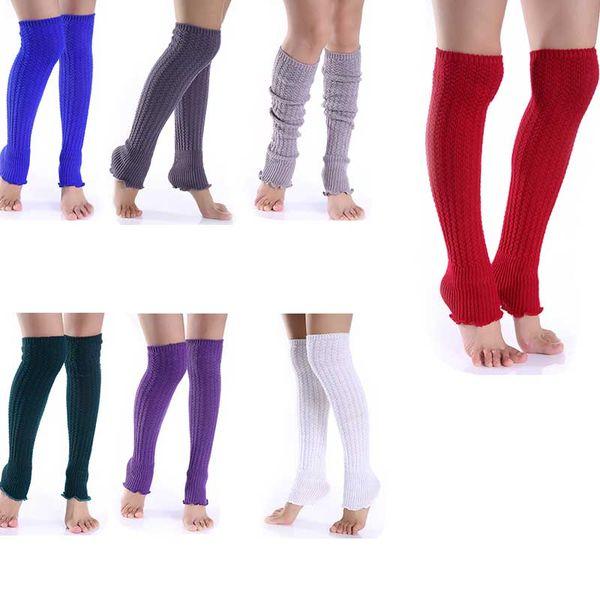 Candy Solid Color Knit Boot Beinlinge Kniestrümpfe Winter Socken für Frauen Drop Ship 010098