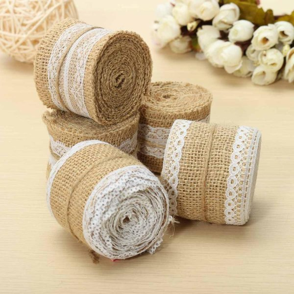 Wholesale 5*200cm Natural Burlap Jute RIbbon Roll Table Runner White Lace Hessian Cloth for Home Rustic Wedding Party DIY Decor