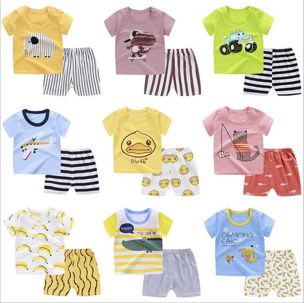 Çocuk Giyim Boys Yaz Giyim Kısa Kollu Şort Hayvan Baskılı T-shirt Pantolon Kıyafetler Payamas Sleepsuits Pijama B5491 Suits Tops ayarlar