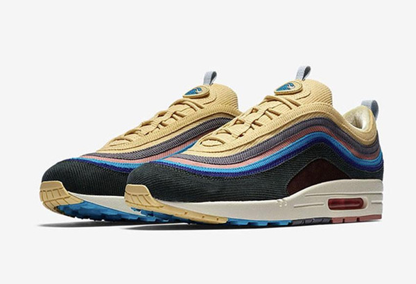 2018 Newest Release 97 Sean Wotherspoon x 1/97 VF SW Hybrid Man Running Shoes Corduroy Rainbow Authentic Sneakers Sports With OG Box