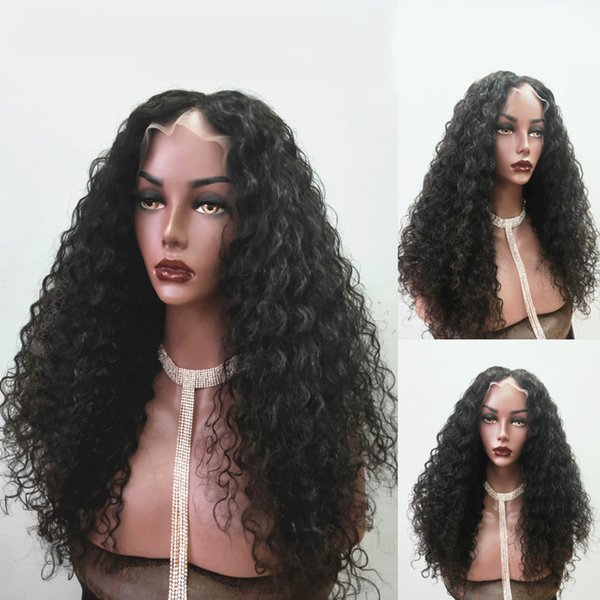 Cheveux humains Lace Front Wig Deep Curl Pré-épilée Péruvienne Vierge Cheveux Full Lace Wig Curly 150% Densité Avec Des cheveux de bébé