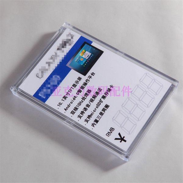 (50 pcs / paquete) Soportes de etiquetas de soporte de etiquetas de soporte de etiquetas de soporte de etiquetas de plástico de color vidrioso para la tienda minorista Exposición