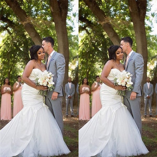 Charming Plus Size Sweetheart Mermaid Wedding Dresses with Satin and Tulle Bridal Gown Fishtail Custom Made Wedding Dress