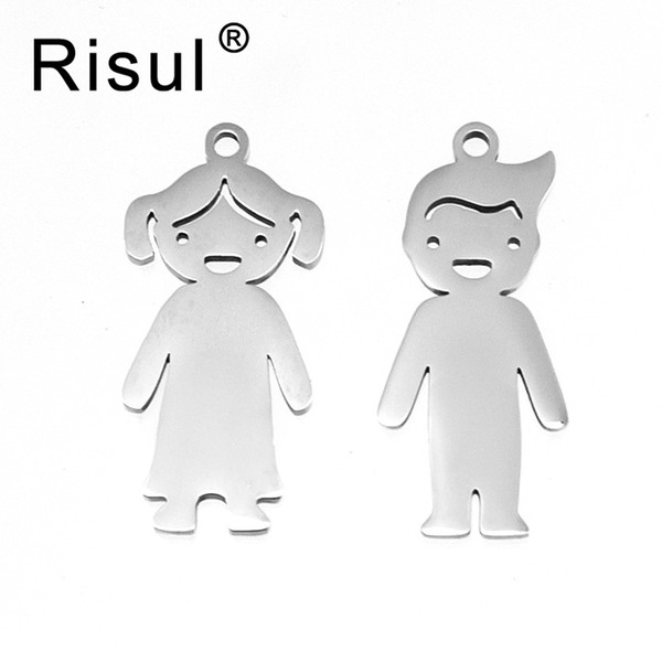wholesale Family Pendants lovely son daughter Children boy girls in charms for print both sides mirror polish stainless steel 50pcs
