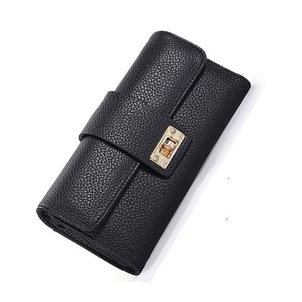 Purse Women Metal Lock Pu Wallets Purse Card Long Wallet Holder Clutch Wallet Women Card Holder Purse A4150