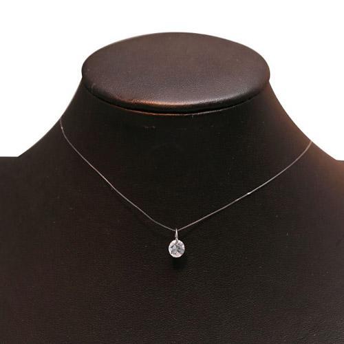 Mode Hochzeit Schmuck Shiny Zirkon Kristall Anhänger Halskette Und Unsichtbare Transparent Angelschnur Frauen Schlüsselbein Halskette