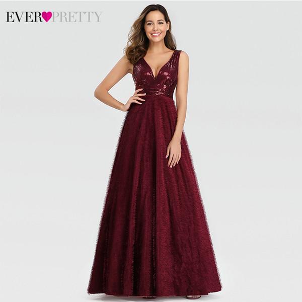 Compre Vestidos De Noche Elegantes Y Esponjosos Largos Y Bonitos Ep00834bd Vestido De Noche Con Lentejuelas Y Cuello En V Doble Con Cuello En V