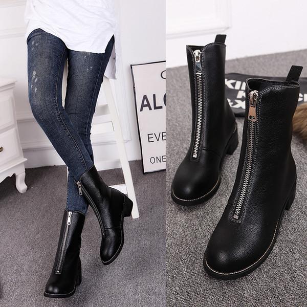 Frauen Stiefel Runde Kappe Echtes Leder Stiefel Frauen Schuhe Winter Warme Weibliche Schuhe Zip Schuhe Frauen Pelzstiefel Femme Scarpe Donna
