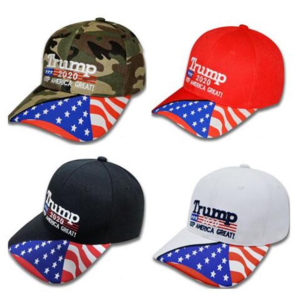 Halten Amerika Große 2020 Camouflage Hut Sterne USA Flagge Baseballmütze Donald Trump Sun Caps 3D Stickerei Buchstaben Hysterese Außenvisier C7108