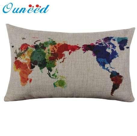Ouneed Linho de Algodão Mapa Do Mundo Fronha Retro Decorativa Fronha de Longa Capa de 30 cm * 50 cm de Presente 1 pcs Gota