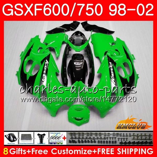 Cuerpo para SUZUKI KATANA Verde claro GSXF 750 600 GSXF600 98 99 00 01 02 2HC.2 GSX750F GSX600F GSXF750 1998 1999 2000 2001 2002 Kit carenado