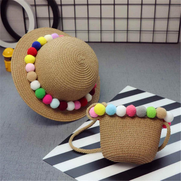 1 Set Rattan Sun Hat and Beach Tote Bag/Set Bali Holiday Straw Bag with Cap BomBom Handbags Women Crossbody Bags Bolsas Feminina