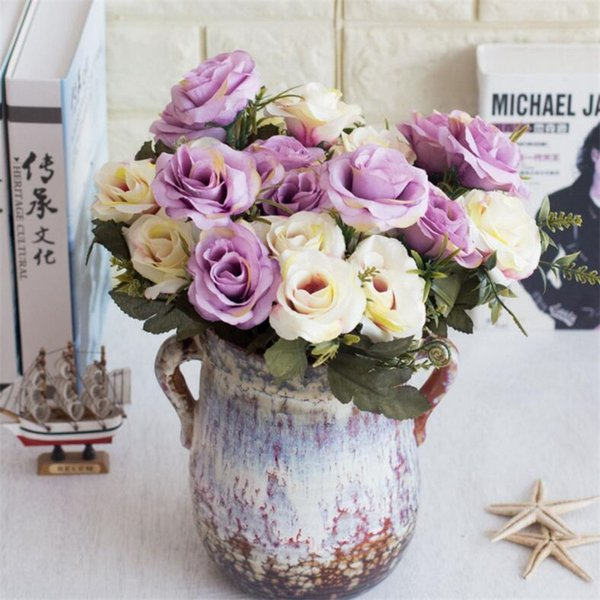 Fake Oil Painting Rose Bunch (6 stems/piece ) Simulation Roses with Plastic Accessories for Wedding Home Decorative Artificial Flowers