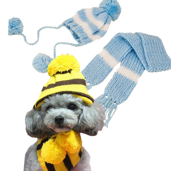 Hot Sale Winter Warm Caps Scarf Knitted Striped Pet Hats for Dog Puppy Small Cats Dogs Ornaments Accessories