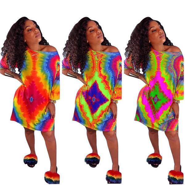 Colorful Tie Dye Print Summer Loose Casual Dresses 2019 Women O-Neck Short Batwing Sleeve Tee Mini Dress Fashion Vintage Vestido