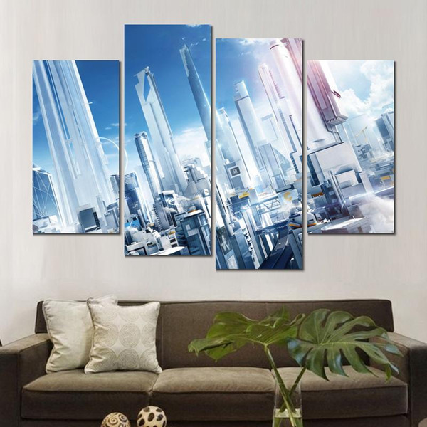 4 sets canvas prints mirrors edge city of glass painting wall pictures for living room decoration