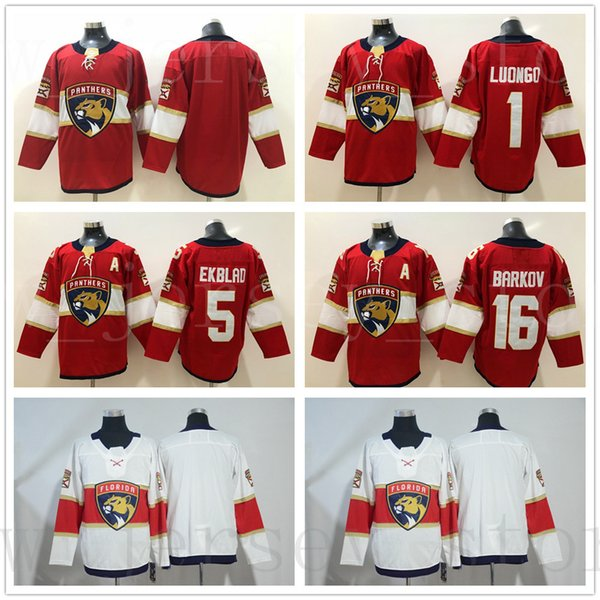 best service f9575 4cfcc 2019 Florida Panthers Stitched Hockey Jerseys Mens #1 Roberto Luongo Jersey  5 Aaron Ekblad 16 Aleksander Barkov Blank Home Red Road White Jersey From  ...
