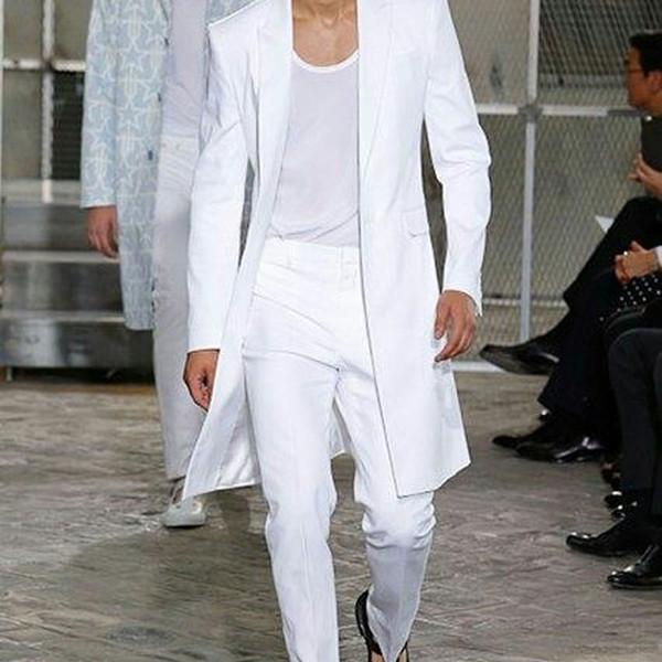 Beyaz Uzun Ceket Erkekler Pantolon Damat Düğün Smokin Sigara Ceket 2piece İyi Adam giysileri Damat Kıyafetler Prom Parti Terno Masculino Takımları