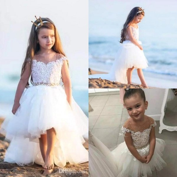 Lovely High Low Flower Girl Dresses Cap Sleeves Lace Tulle Little Girls First Communion Beach Boho Girls Wear For Beach Weddings BC1775