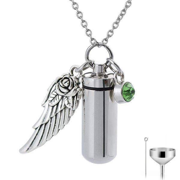 Angel Wing Memorial Urn Necklace Cylinder Cremation Keepsake Pendant Birthstone Crystal Stainless Steel for Funeral Ash Locket