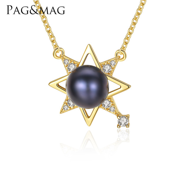 PAG&MAG Newest 18K Gold-color 925 Sterling Silver Chic pearl Pendant Necklace Girls Wedding Accessories Lucky Star Shape Jewelry