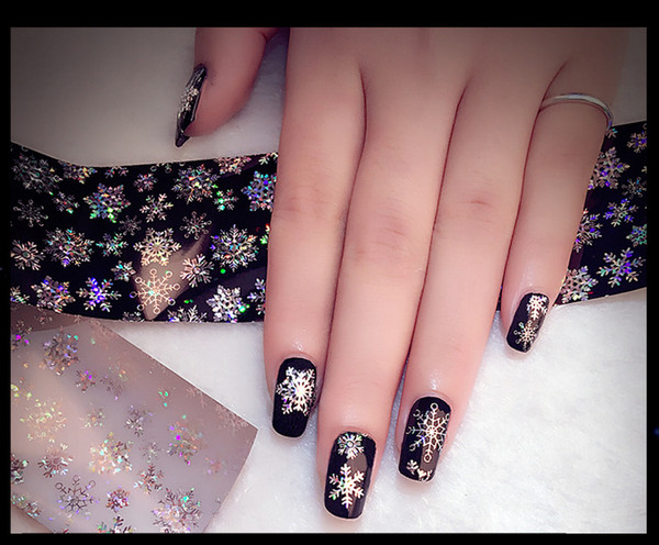 Christmas sterry sky sticker snow flower shape designed hot transfer nail art decals 3D nail manicure art sticker MZ072