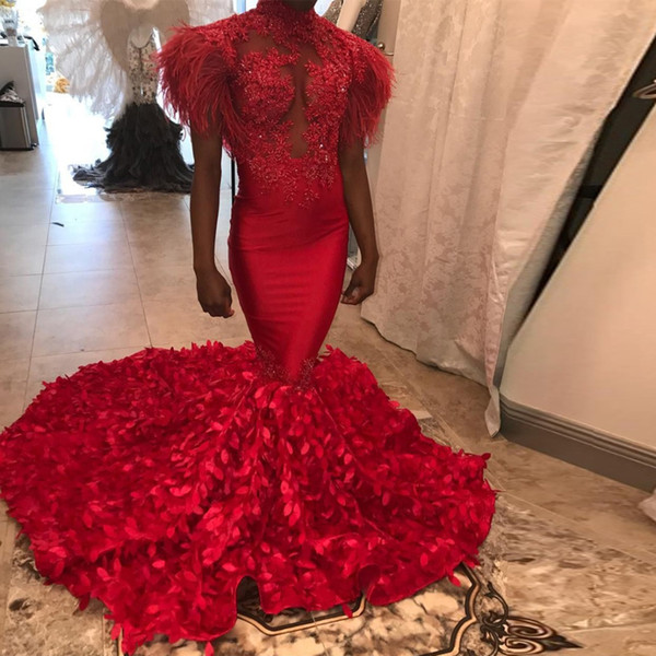 Luxury Red Feather Mermaid Evening Dresses High Neck Bead Sequined Leaves Celebrity Gown Satin Long Prom Dress Custom Made