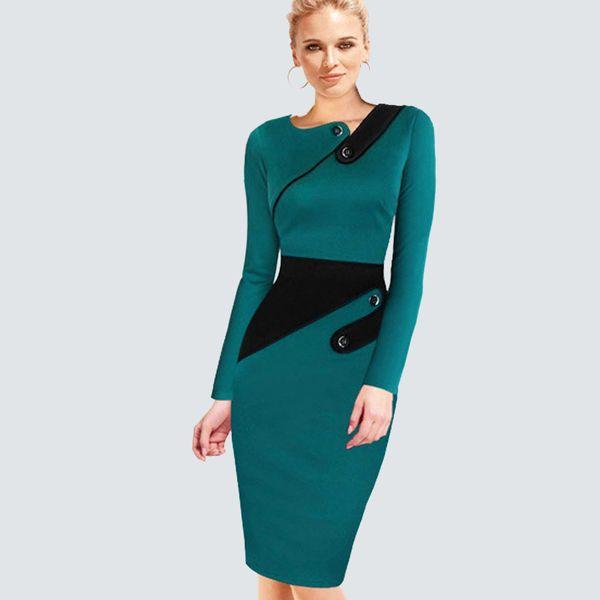 Plus Size Elegant Wear To Work Women Office Business Dress Casual Tunic Bodycon Sheath Fitted Formal Pencil Dress B63 B231 T190529012