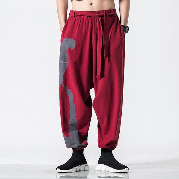 Homens Casuais Calças De Linho de Algodão Solto Impressão Pantstreetwear Masculino Elástico Na Cintura Harem Calças Sweatpants Corredores Roupas de Viagem