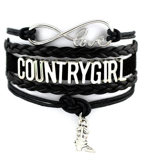 Infinity Love Bracelets Country Girl Cow Girl Multilayer Woven Wrist Punk Cowboy Boots Charm Bracelets Mix Colors Women Fine Jewelry Gifts