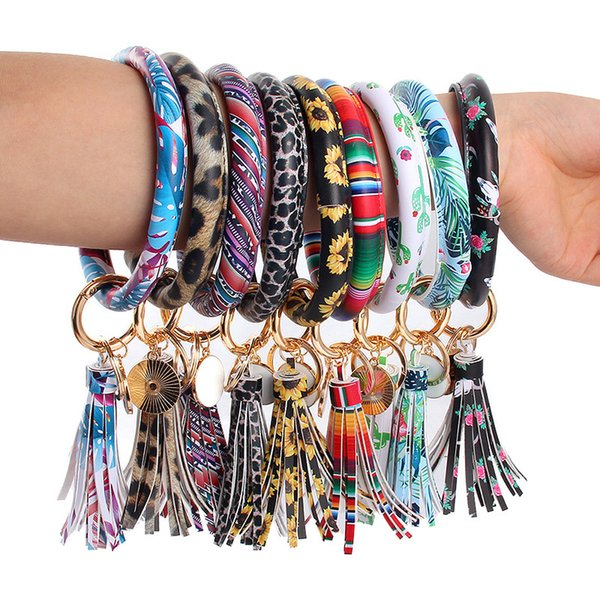 best selling Leather Wrap Tassels Bracelets Key Ring Leopard Print Chain Wristband Sunflower Drip Oil Bangle Keychain Party Gift