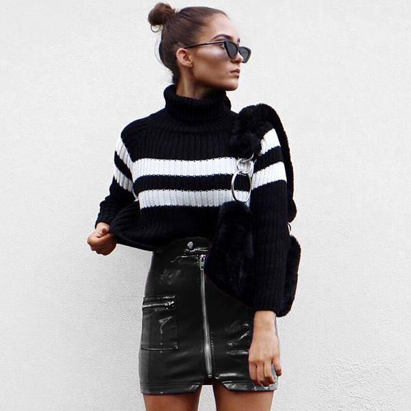 Le printemps d'automne des femmes gros nouveau design à glissière courte jupe haute jupe jupe en cuir de la hanche sac PU de taille 93