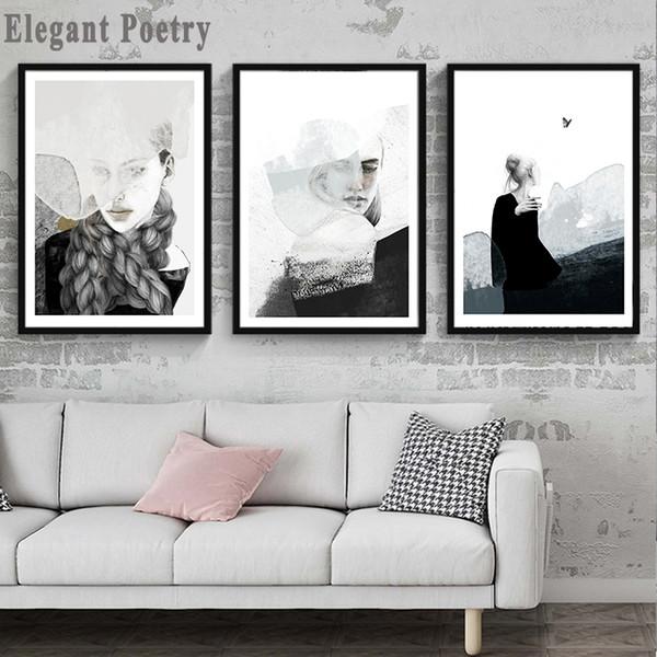 Großhandel Frau Abstrakt Schwarz Weiß Landschaft Kunst Leinwand Malerei  Druckplakat Bild Wand Wohnzimmer Schlafzimmer Nordischen Stil Wohnkultur  Von ...