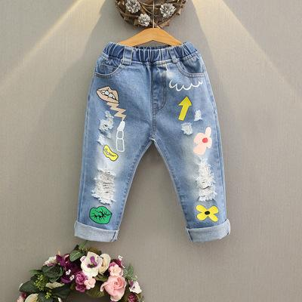 Niñas bebés Pantalones de mezclilla Labios Lavar Borlas azules Trapos Moda niños Pantalones Nueva primavera otoño Pantalones largos Pantalones vaqueros