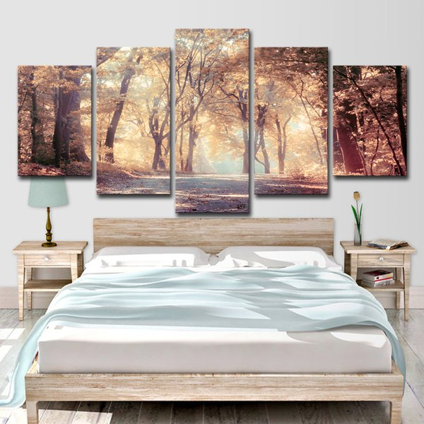 Canvas HD Prints Pictures Wall Art 5 Pieces Autumn Leaves Trees Landscape Paintings Warm Day Forest Posters Home Decor