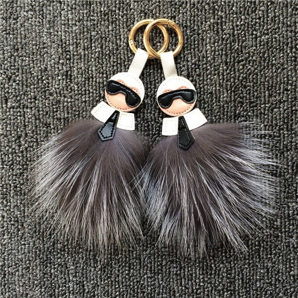 10pcs Fashion Keychain jewelry bags hang fur fox hair bulb Leather tassel pendant Luxury Gift Bag Clothes shoes hat Accessories Key Chain