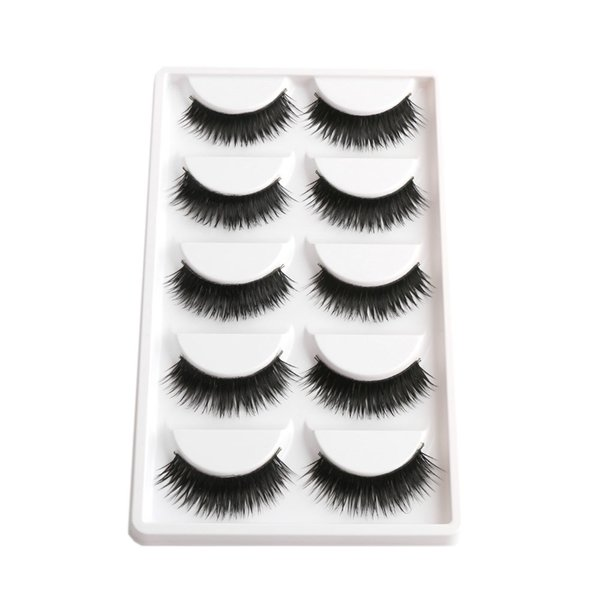 False Eyelashes 1 Box 5 Pairs Thick Black False Eyelashes Makeup Tips Natural Makeup Long Fake Eye Lashes