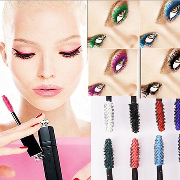 Ojos profesional Maquillaje Impermeable Fácil Eliminar Punk Azul Blanco Rojo Negro Púrpura Alargar pestañas Color Mascara
