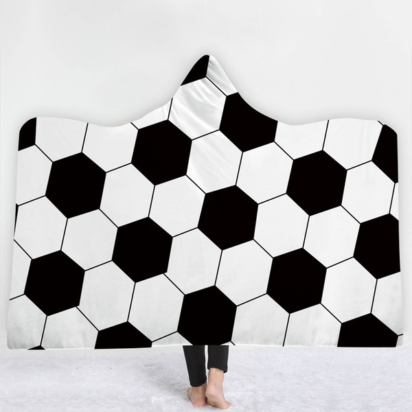 Enjoyable Football Pattern Blanket Keep Warm Soft Comfortable Sofa Blanket With Hat Black White Simple Style Sell Well Navy Blue Throw Blanket Egyptian Cotton Cjindustries Chair Design For Home Cjindustriesco