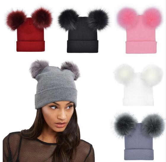 9155987e Unisex Winter Women Children Faux Fur Double Ball Pom Pom Ski Hats Warm Cap  Knitted Beanie