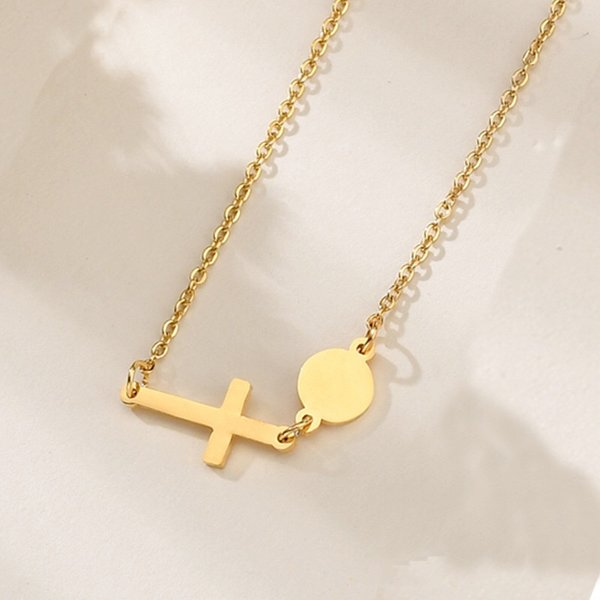 Free Shipping Cross and Paillette Shape Couple Necklace Rose Gold Gold Silver Color Available Charm Pendant Necklace for Girls