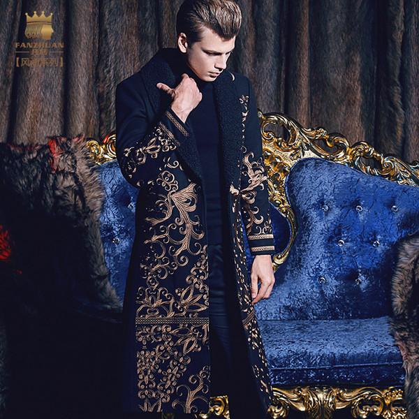 Бесплатная доставка fanzhuan Новый 2017 мода случайного человек мужская мужская длинная тонкая теплая пальто осень зима вышивка барокко 710171