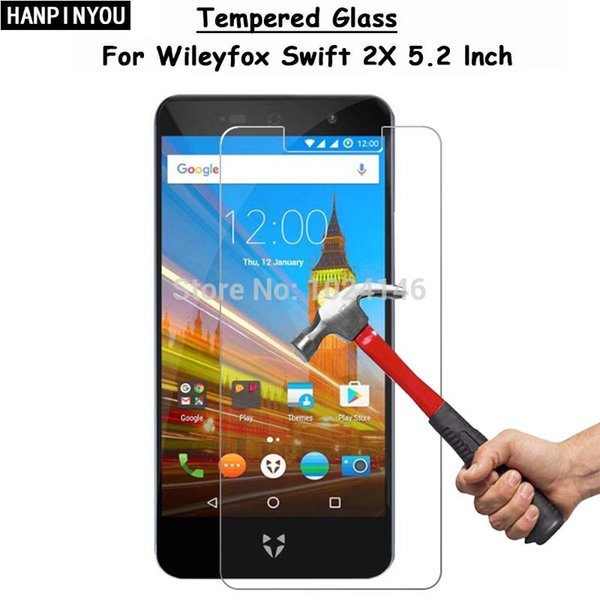 """For Wileyfox Swift 2X 2 X 5.2"""" HD Clear Tempered Glass Screen Protector Ultra Thin Explosion-proof Protective Film +Cleaning Kit"""