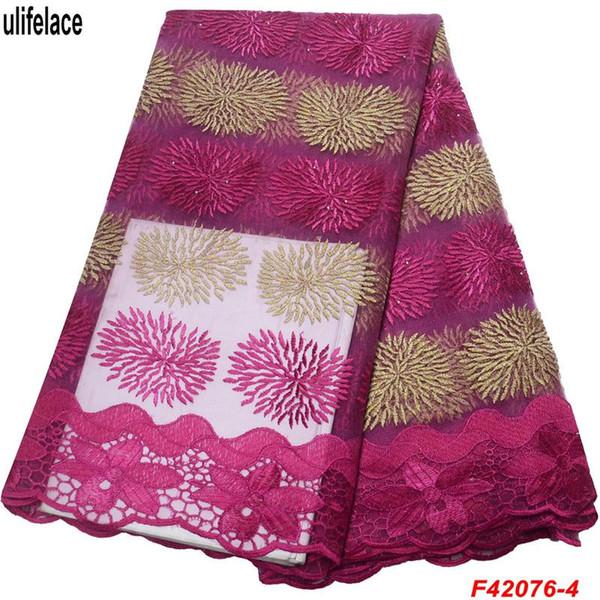 Französisch spitzenstoffe 2019 afrikanische tüll stoff Heiße Nigerianische Spitzenstoffe Polyester Tüll Stoff Für Abendkleid F4-2076