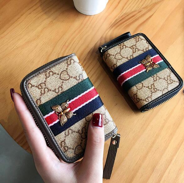 2019 Avrupa ve Amerikan moda kadın deri fermuarlı kart çanta çoklu kart seti çantası kart cüzdan 4 renkler