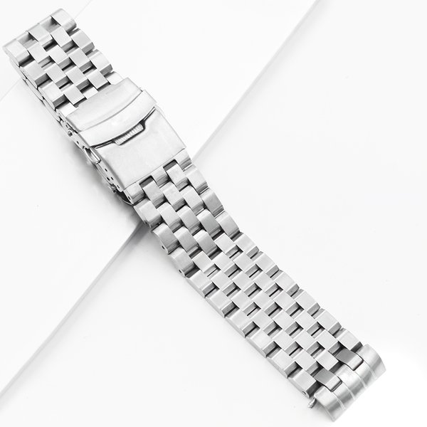 CARLYWET 22mm Hollow Curved End Solid Links Replacement Watch Band Strap Bracelet Double Push Clasp