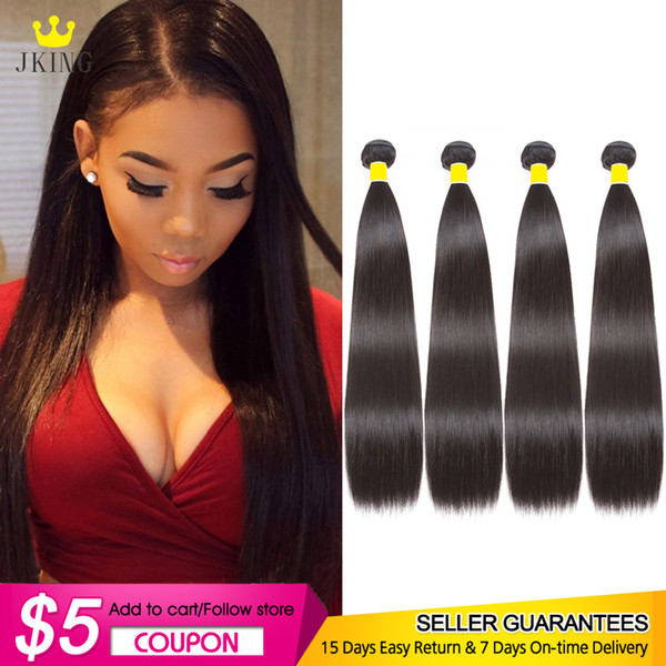 JKING Silky Peruvian Straight Human Hair 4 Bundles 8A Virgin Unprocessed Straight Human Hair Weave Bundles 100g/pc Natural Color Can be Dyed